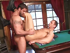 Hairy fruit jazzes elegant boyfriend on billiard table