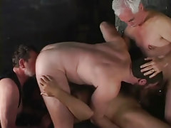 Two old gay guys have joy with adolescent men
