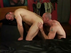 Horny dilf licks muscled males a-hole