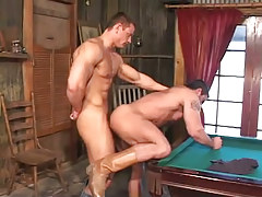 Hot muscle faggots hard fuck on billiard table