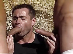 Hungry gay sucks dualistic cocks by bends in desert
