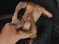 Muscle faggot licked by curly dilf