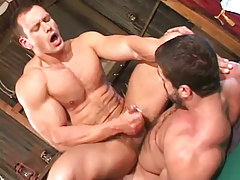 Muscle twink cums on furry paunch