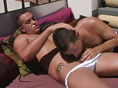 Horny dad sucked by dude sub on terrace