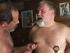 Lusty old twinks mole tit pointers with cigar