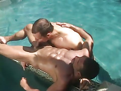 Cute gay sucks muscle dilf in pool
