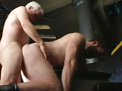 Old homosexual fucks hairy fella in doggy style