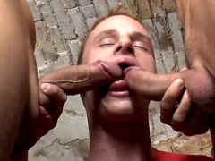 Horny man-lover 3some fucking their brains out on table
