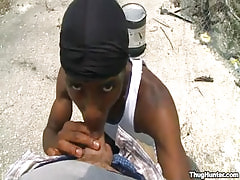 Black chap throats white rod outdoor