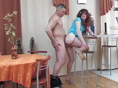 Nasty sissy in a wild blue dress surrenders to twink occurrence in the cafe
