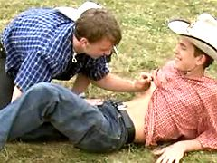 Adorable lil cowboys have fun oral-service fondles on grass