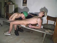 Young twink coworkers doing some swallow job in office