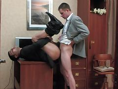 Pervy co-worker and his homosexual boss having cock-break after rough working day