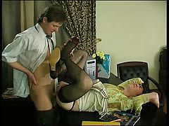 Spiteful gay submissive in lacy brown stockings getting massive hard-on up his waste
