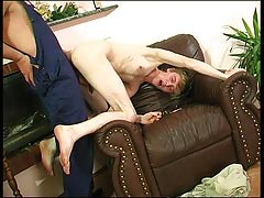 Homosexual plumber uses his meaty hose to cram a straight guy's mouth and stiff waste