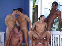 Six interracial man-lover guys suck and fuck by pool